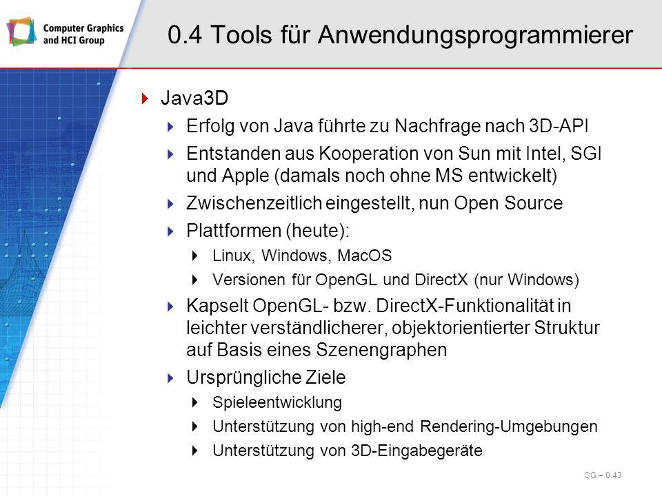 0.4 Tools für Anwendungsprogrammierer OpenGL Optimizer Visualisierungsbibliothek für sehr große Modelle Vorwiegend für den Konstruktionsbereich gedacht (Digital Prototyping) Bietet volle Kontrolle über: Topologie (z.