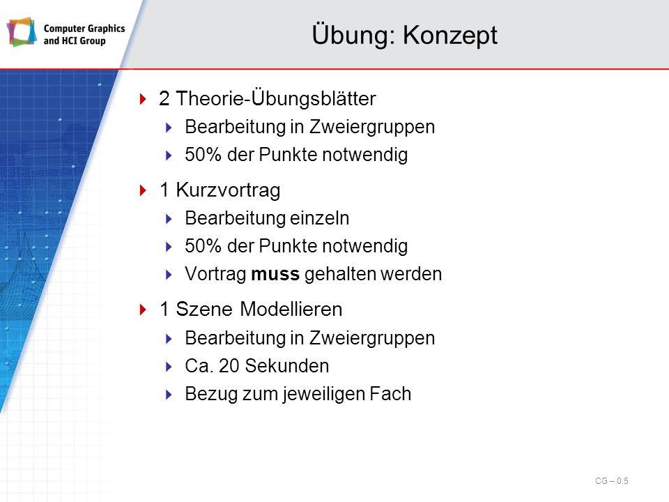 Vorlesung: Ablauf Skript: Online als PDFs unter: http://gfx.uni-kl.de/~cg Alternativ auf Anfrage im Sekretariat (Mady Gruys, 36-228) erhältlich (evtl.