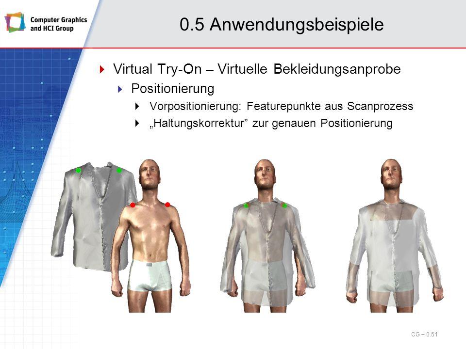 0.5 Anwendungsbeispiele Virtual Try-On – Intelligente Morphingtechnologie Segmentierung des Kleidungsstückes Bestimmung einer geeigneten Parametrisierung für jedes Segment Deformation Änderung der lokalen Eckpunkt- Koordinaten bzgl.