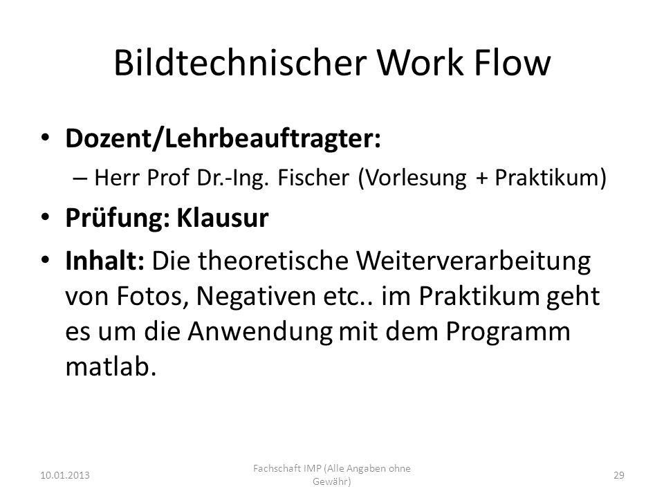 Bildtechnischer Work Flow Dozent/Lehrbeauftragter: – Herr Prof Dr.-Ing. Fischer (Vorlesung + Praktikum) Prüfung: Klausur Inhalt: Die theoretische Weit