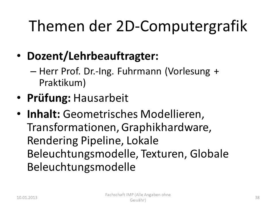 Themen der 2D-Computergrafik Dozent/Lehrbeauftragter: – Herr Prof. Dr.-Ing. Fuhrmann (Vorlesung + Praktikum) Prüfung: Hausarbeit Inhalt: Geometrisches