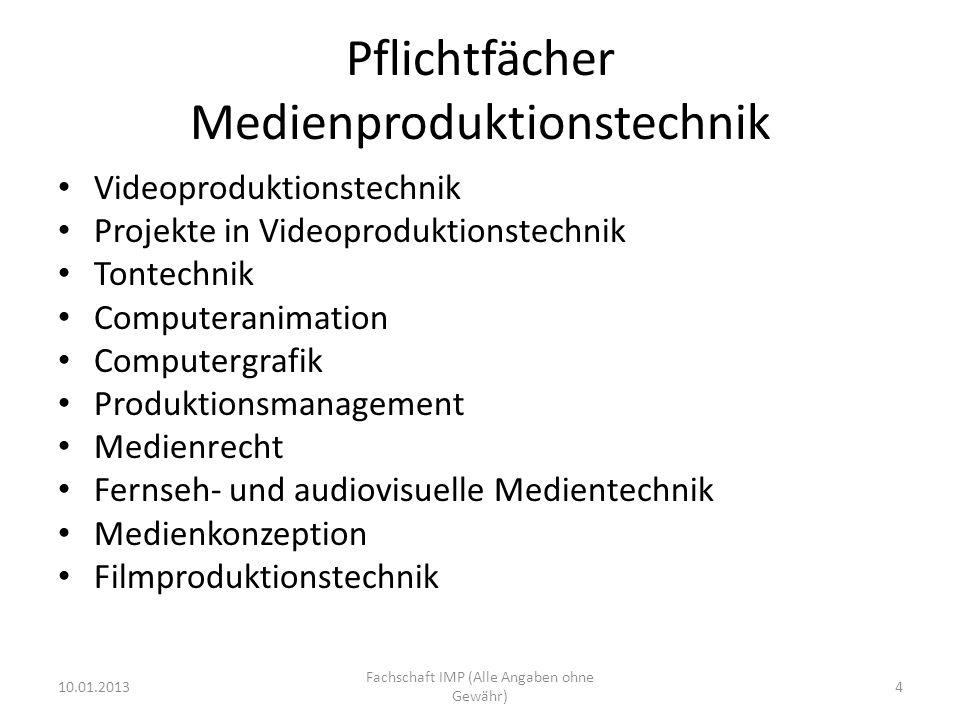 Pflichtfächer Medienproduktionstechnik Videoproduktionstechnik Projekte in Videoproduktionstechnik Tontechnik Computeranimation Computergrafik Produkt