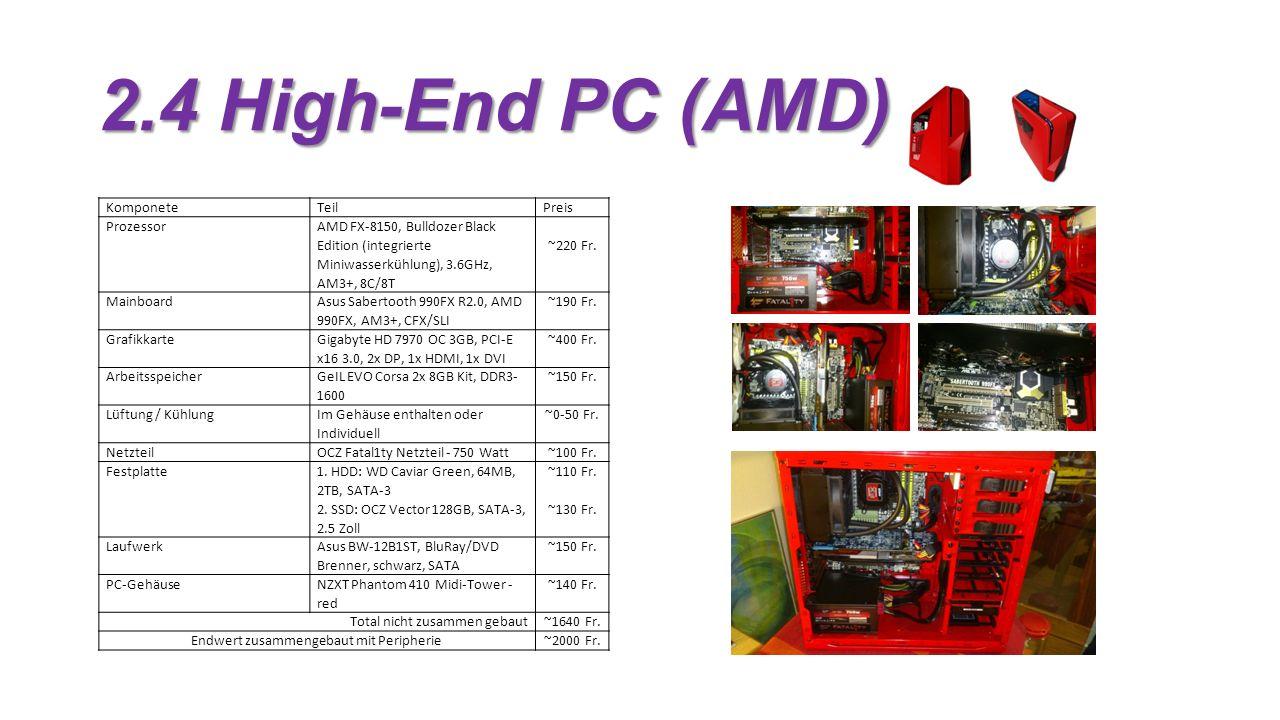 2.4 High-End PC (AMD) KomponeteTeilPreis Prozessor AMD FX-8150, Bulldozer Black Edition (integrierte Miniwasserkühlung), 3.6GHz, AM3+, 8C/8T ~220 Fr.