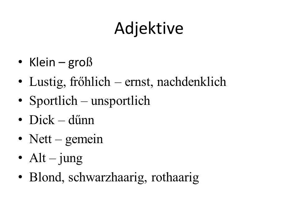 Adjektive Klein – gro ß Lustig, frőhlich – ernst, nachdenklich Sportlich – unsportlich Dick – dűnn Nett – gemein Alt – jung Blond, schwarzhaarig, rothaarig