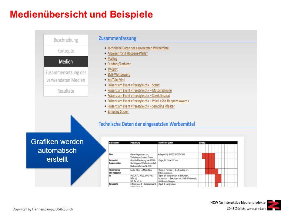 Copyright by Hannes Zaugg, 8045 Zürich HZW für interaktive Medienprojekte 8045 Zürich, www.print.ch Medienübersicht und Beispiele Grafiken werden automatisch erstellt