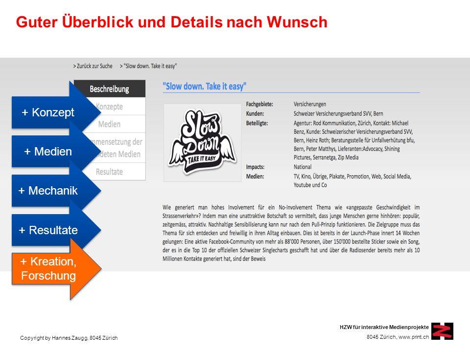 Copyright by Hannes Zaugg, 8045 Zürich HZW für interaktive Medienprojekte 8045 Zürich, www.print.ch Beschrieb mit Text und Bild Bilder können vergrössert werden