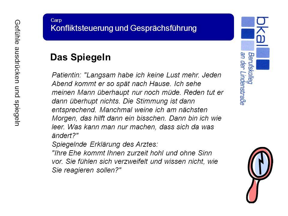 Carp Konfliktsteuerung und Gesprächsführung Das Spiegeln Patientin: