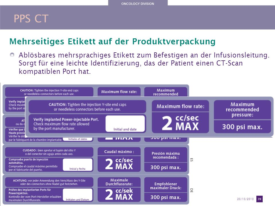 ONCOLOGY DIVISION Training document exclusively reserved to the Perouse sales team use20/10/2010 39 PPS CT Mehrseitiges Etikett auf der Produktverpack