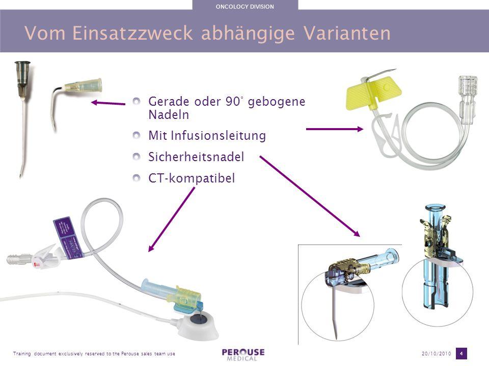 ONCOLOGY DIVISION Training document exclusively reserved to the Perouse sales team use20/10/2010 5 Gerade oder 90° gebogene Portkanülen 4 Nadeldurchmesser 23G (0,6 mm) (nur für Pädiatrie ) 22G (0,7 mm) (Schwarz ) 20G (0,9 mm) (Gelb ) 19G (1,1 mm) (Hellbraun ) 5 Nadellängen : 20 mm 25 mm 30 mm 35 mm 38 mm Artikelnummern 52xxxx > 90° gebogene Nadeln 51xxxx > Gerade Nadeln - Im POLYSITE Kit enthalten - Maximale Verbleibdauer im Port = 1 Tag