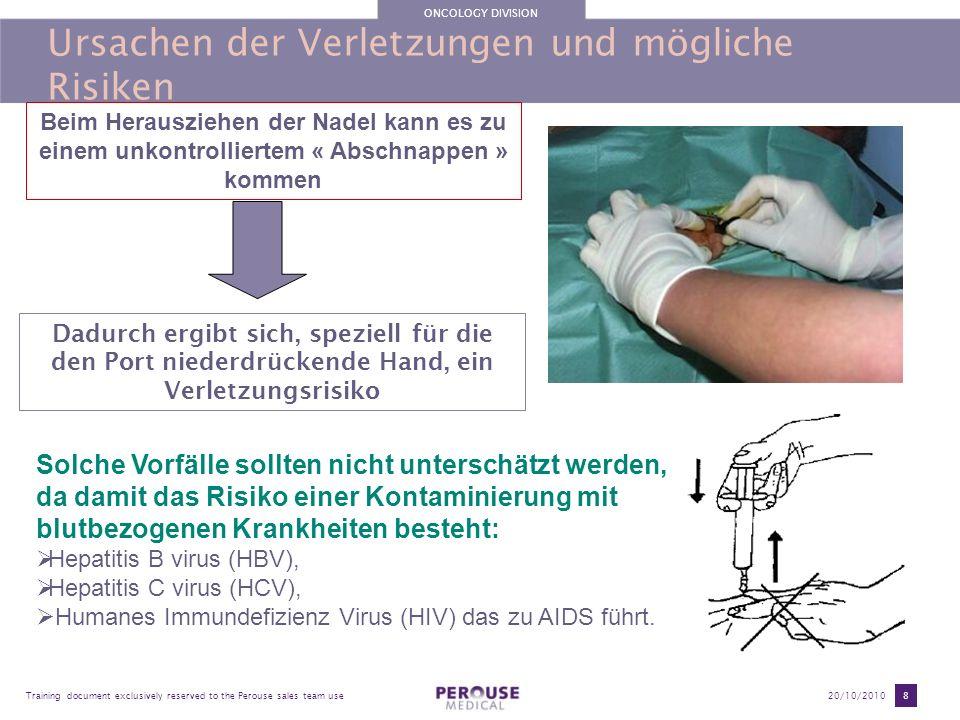 ONCOLOGY DIVISION Training document exclusively reserved to the Perouse sales team use20/10/2010 8 Ursachen der Verletzungen und mögliche Risiken Beim
