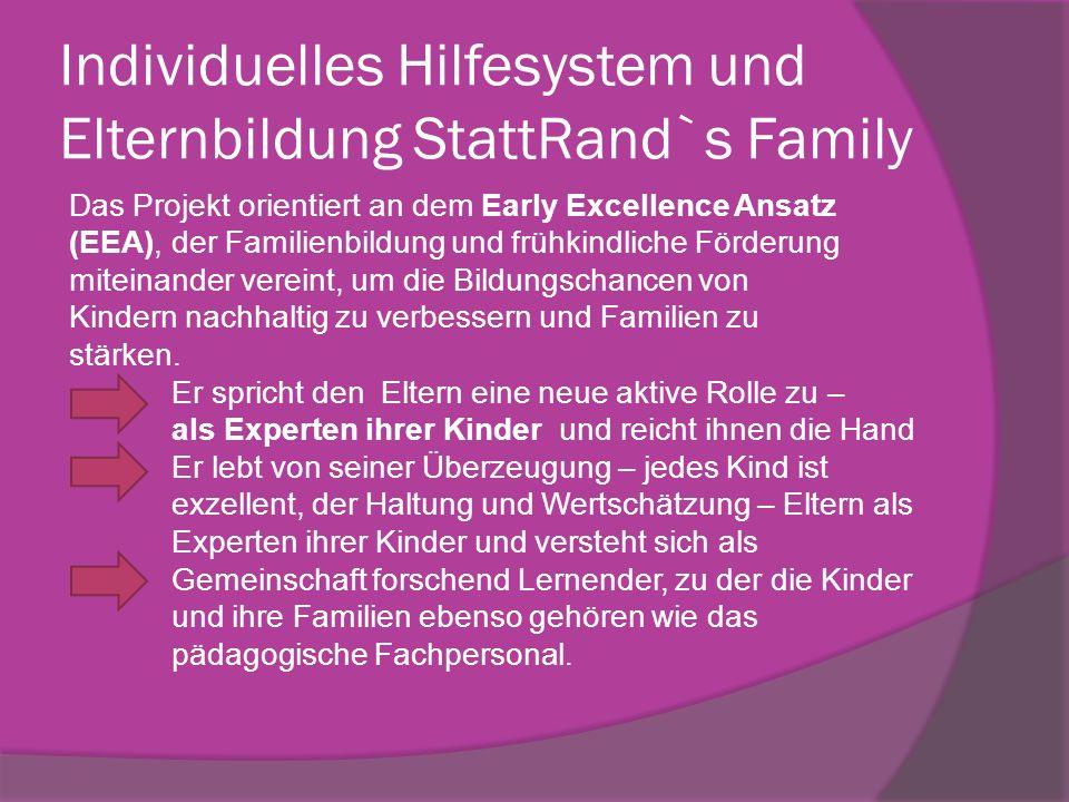 Individuelles Hilfesystem und Elternbildung StattRand`s Family Das Projekt orientiert an dem Early Excellence Ansatz (EEA), der Familienbildung und fr