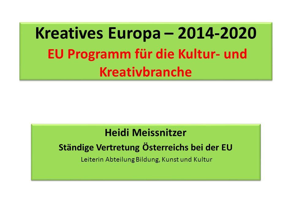 Heidi Meissnitzer Ständige Vertretung Österreichs bei der EU Leiterin Abteilung Bildung, Kunst und Kultur Heidi Meissnitzer Ständige Vertretung Österr