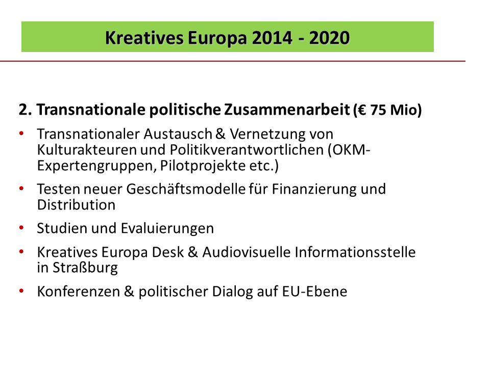 Kreatives Europa 2014 - 2020 2. Transnationale politische Zusammenarbeit ( 75 Mio) Transnationaler Austausch & Vernetzung von Kulturakteuren und Polit