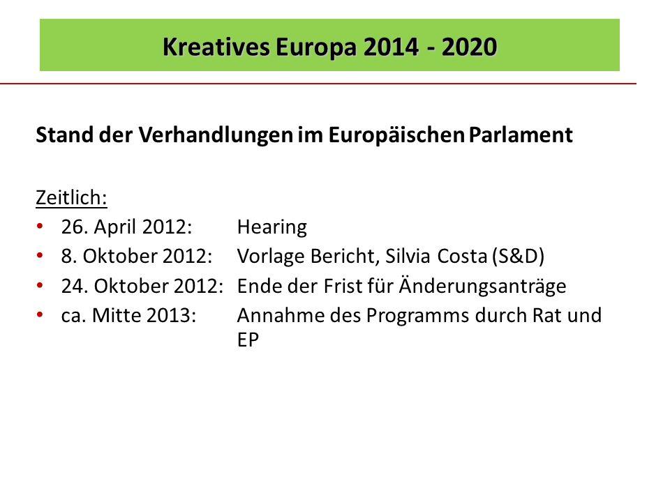 Kreatives Europa 2014 - 2020 Stand der Verhandlungen im Europäischen Parlament Zeitlich: 26. April 2012: Hearing 8. Oktober 2012: Vorlage Bericht, Sil