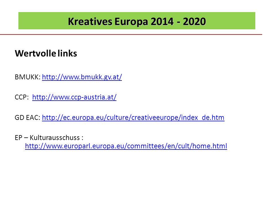 Kreatives Europa 2014 - 2020 Wertvolle links BMUKK: http://www.bmukk.gv.at/http://www.bmukk.gv.at/ CCP: http://www.ccp-austria.at/http://www.ccp-austr