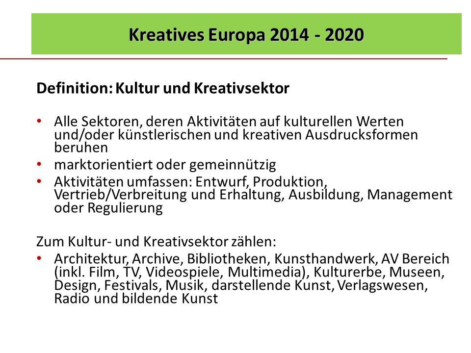 Kreatives Europa 2014 - 2020 Definition: Kultur und Kreativsektor Alle Sektoren, deren Aktivitäten auf kulturellen Werten und/oder künstlerischen und