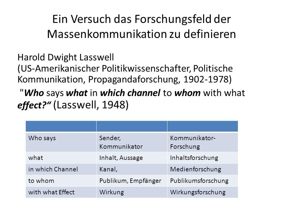 Ein Versuch das Forschungsfeld der Massenkommunikation zu definieren Harold Dwight Lasswell (US-Amerikanischer Politikwissenschafter, Politische Kommu