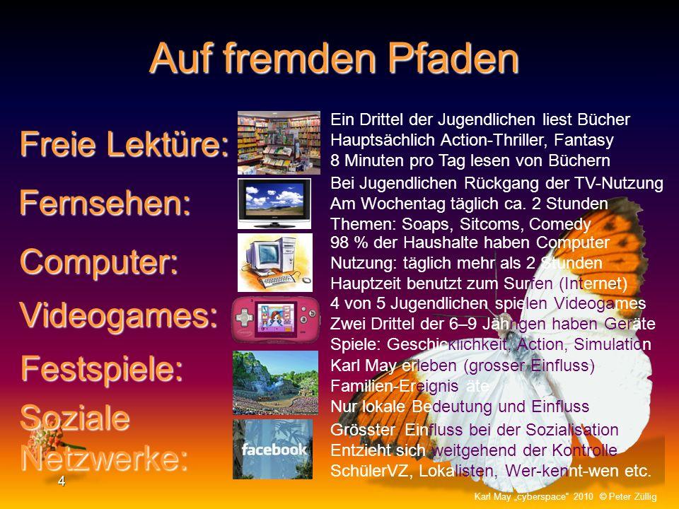 Eltern: 3 Karl May cyberspace 2010 © Peter Züllig Schule: Vereine: Pflicht- lektüre: Spurensuche Selber nicht mehr durch Karl May – Figuren sozialisie
