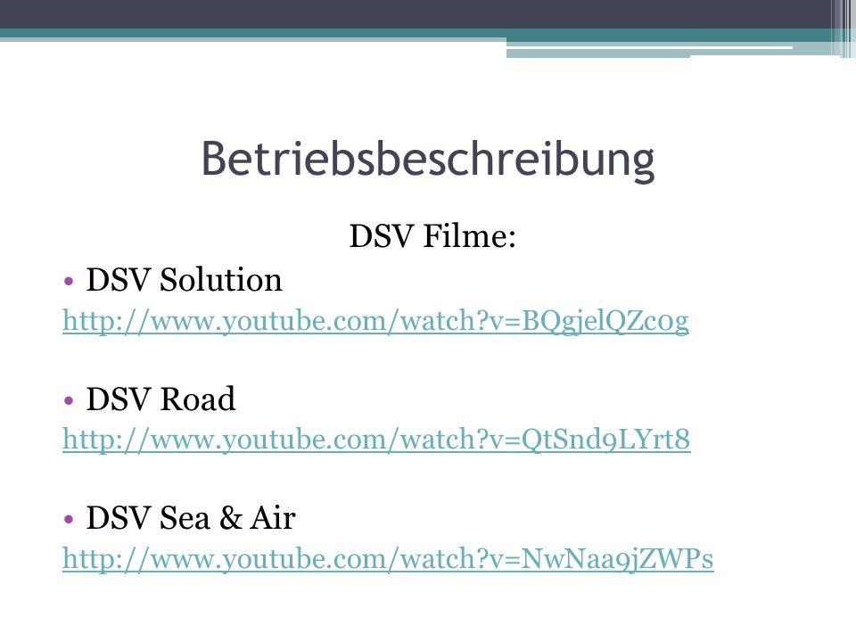 Betriebsbeschreibung DSV Filme: DSV Solution http://www.youtube.com/watch?v=BQgjelQZc0g DSV Road http://www.youtube.com/watch?v=QtSnd9LYrt8 DSV Sea &