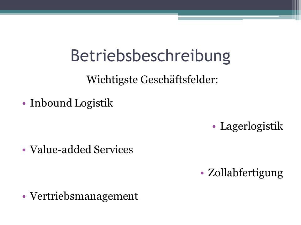 Betriebsbeschreibung Wichtigste Geschäftsfelder: Inbound Logistik Lagerlogistik Value-added Services Zollabfertigung Vertriebsmanagement