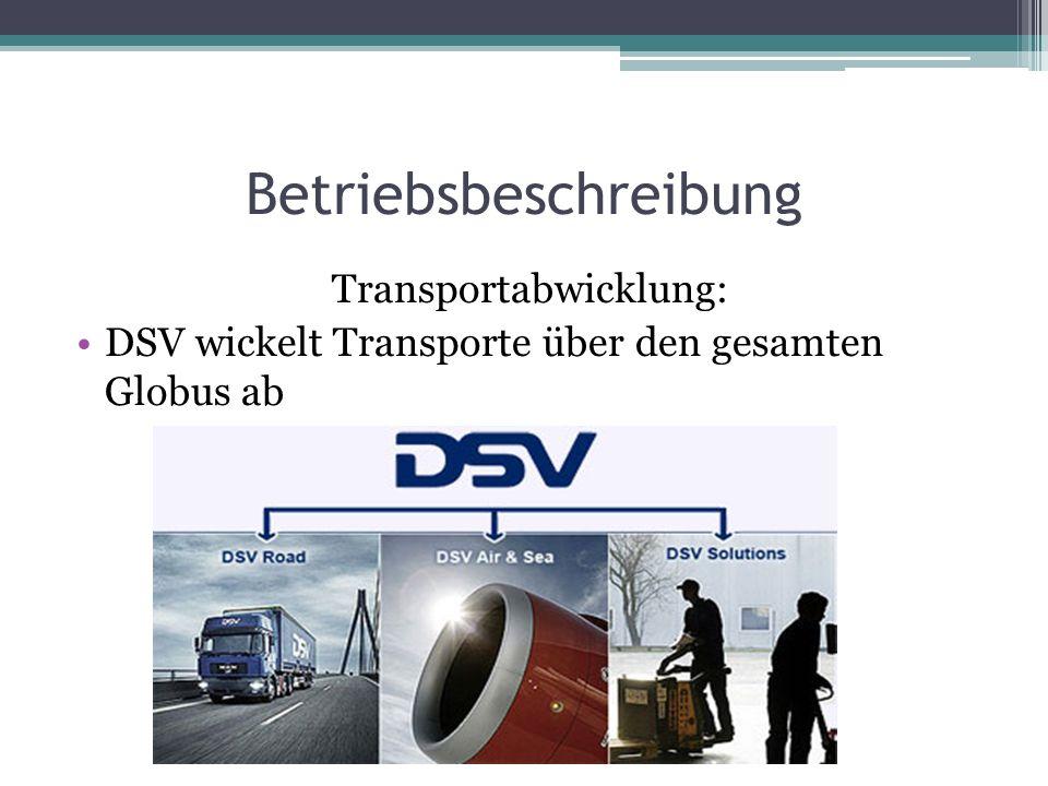 Betriebsbeschreibung Transportabwicklung: DSV wickelt Transporte über den gesamten Globus ab