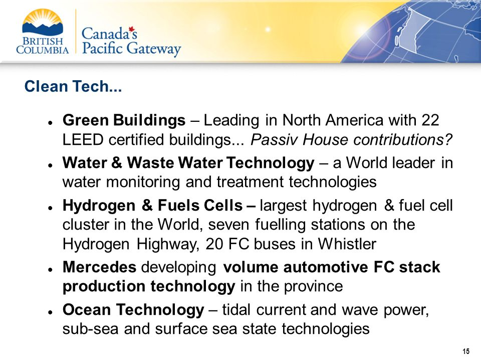 Clean Tech... 15 Green Buildings – Leading in North America with 22 LEED certified buildings... Passiv House contributions? Water & Waste Water Techno