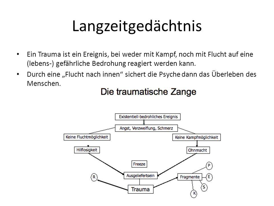 Langzeitgedächtnis Ein Trauma ist ein Ereignis, bei weder mit Kampf, noch mit Flucht auf eine (lebens-) gefährliche Bedrohung reagiert werden kann. Du