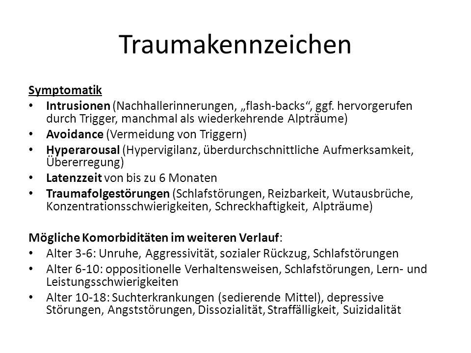 Traumakennzeichen Symptomatik Intrusionen (Nachhallerinnerungen, flash-backs, ggf. hervorgerufen durch Trigger, manchmal als wiederkehrende Alpträume)