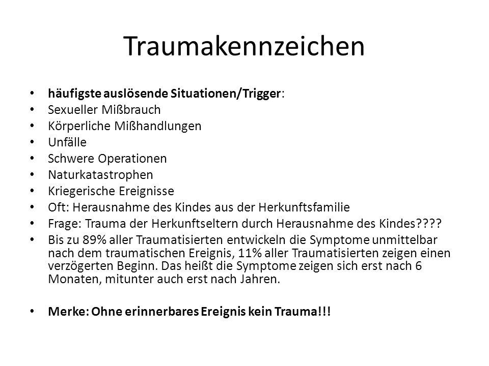 Traumakennzeichen häufigste auslösende Situationen/Trigger: Sexueller Mißbrauch Körperliche Mißhandlungen Unfälle Schwere Operationen Naturkatastrophe