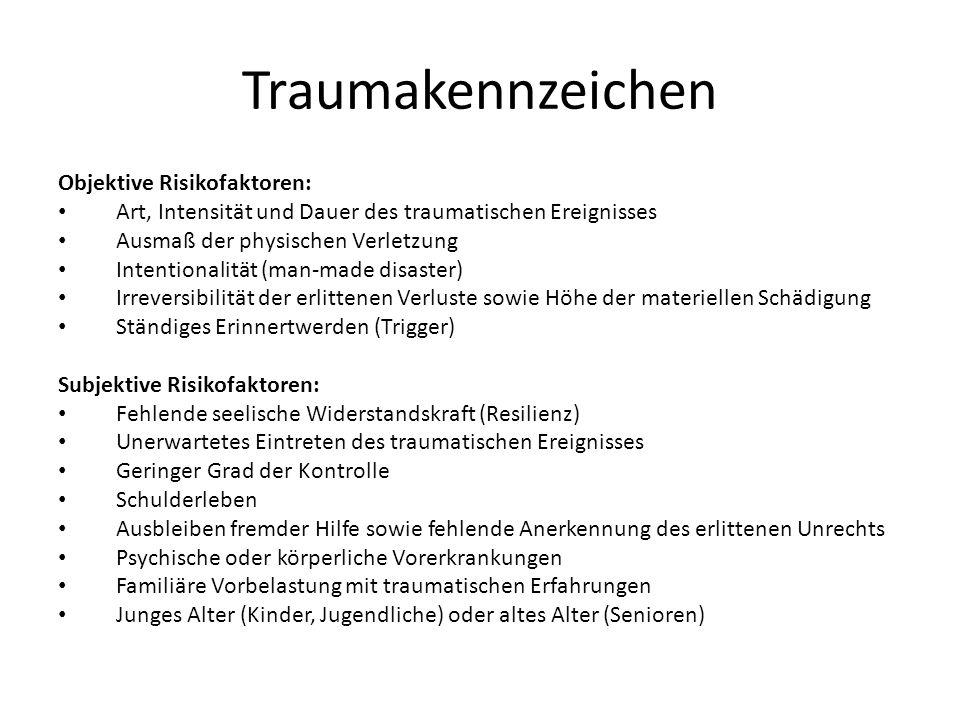 Traumakennzeichen Objektive Risikofaktoren: Art, Intensität und Dauer des traumatischen Ereignisses Ausmaß der physischen Verletzung Intentionalität (