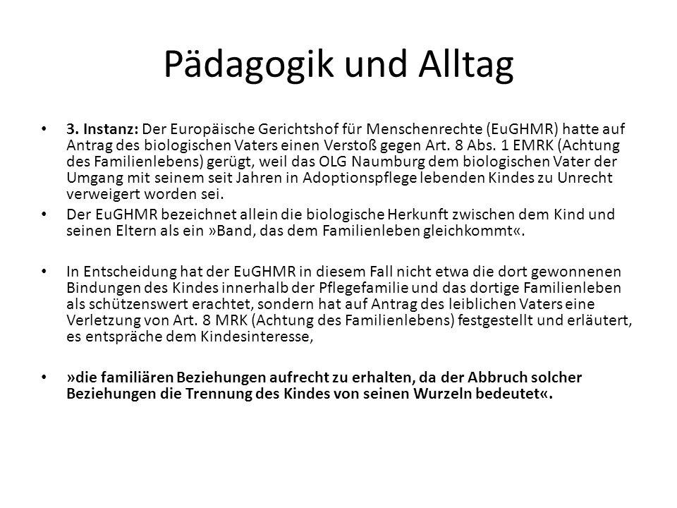 Pädagogik und Alltag 3. Instanz: Der Europäische Gerichtshof für Menschenrechte (EuGHMR) hatte auf Antrag des biologischen Vaters einen Verstoß gegen