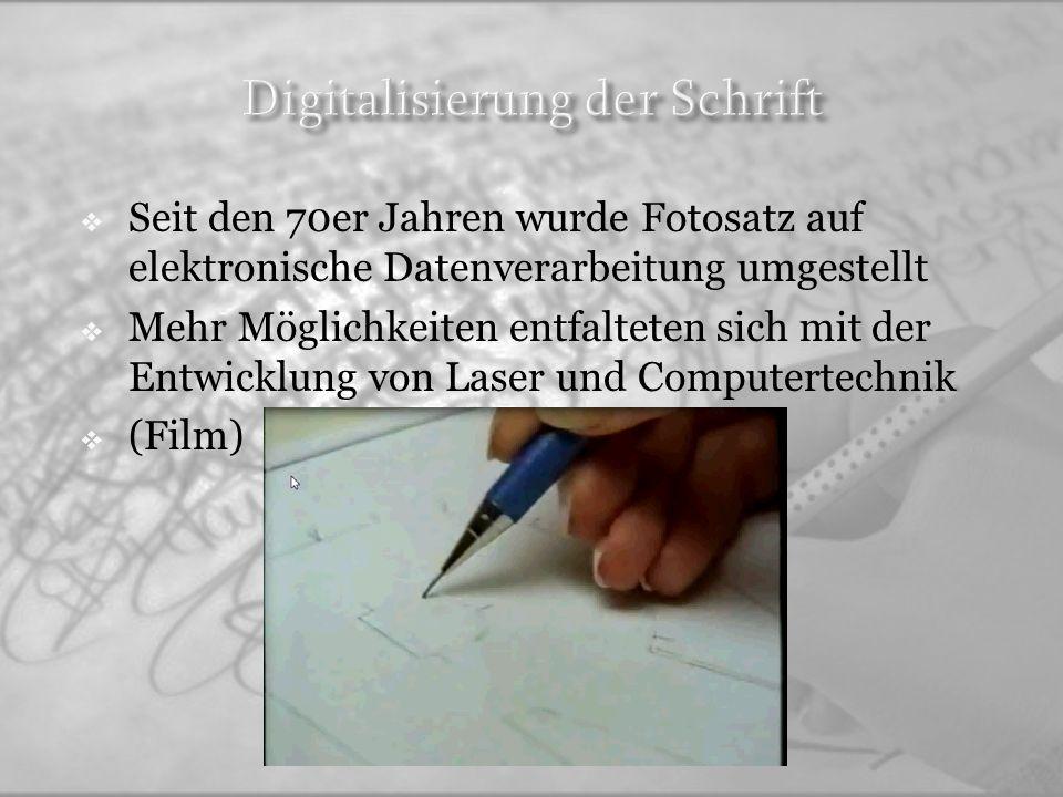 Typografie ist das Schreiben mit Typen Heute meint man es grundsätzlich das Gestalten von Medien mittels Schrift.