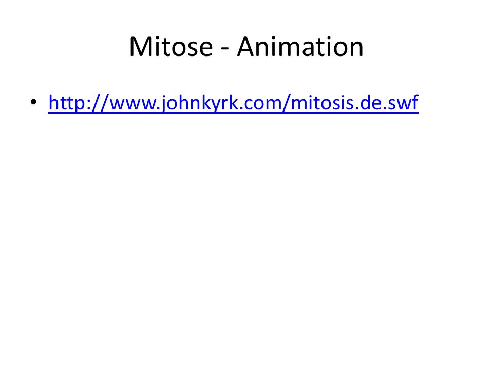 Mitose - Animation http://www.johnkyrk.com/mitosis.de.swf