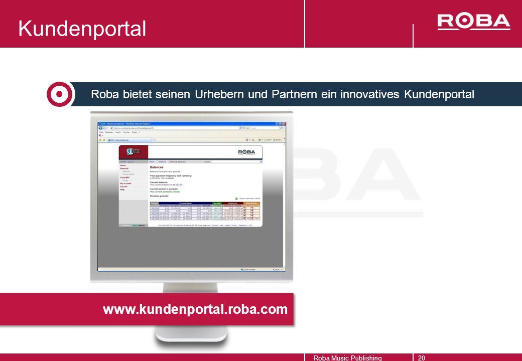 www.kundenportal.roba.com Roba Music Publishing20 Kundenportal Roba bietet seinen Urhebern und Partnern ein innovatives Kundenportal