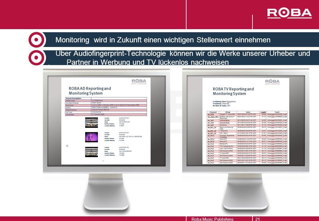 Monitoring wird in Zukunft einen wichtigen Stellenwert einnehmen Über Audiofingerprint-Technologie können wir die Werke unserer Urheber und Partner in Werbung und TV lückenlos nachweisen Monitoring Roba Music Publishing21
