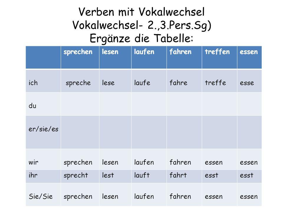 Verben mit Vokalwechsel Vokalwechsel- 2.,3.Pers.Sg) Ergänze die Tabelle: sprechenlesenlaufenfahrentreffenessen ich sprecheleselaufefahretreffeesse du