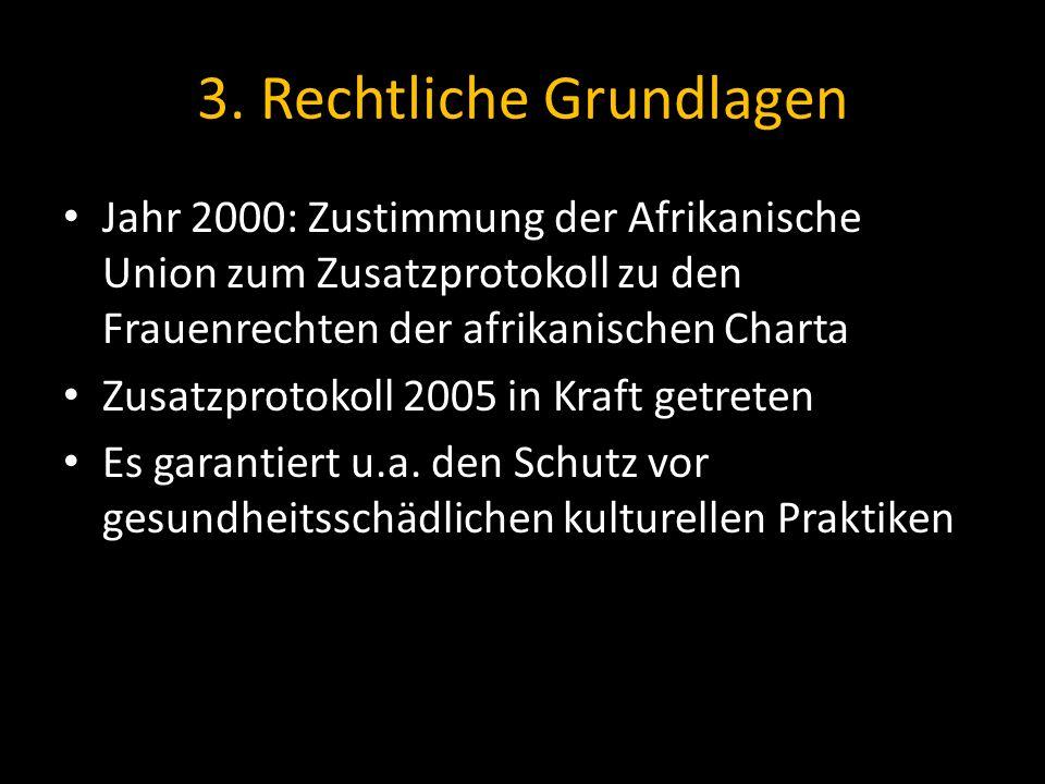 3. Rechtliche Grundlagen Jahr 2000: Zustimmung der Afrikanische Union zum Zusatzprotokoll zu den Frauenrechten der afrikanischen Charta Zusatzprotokol