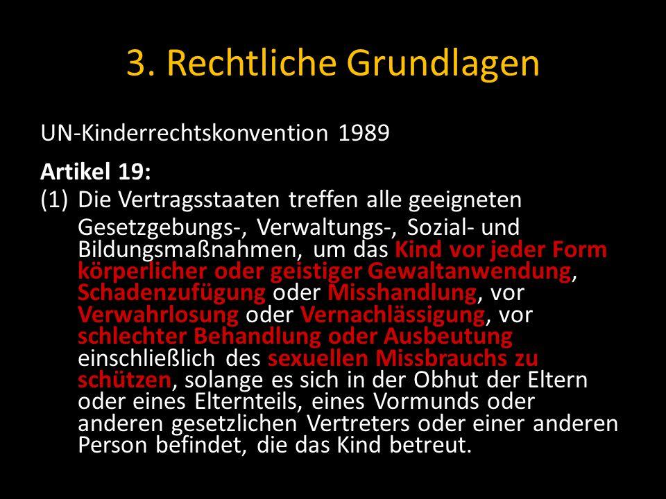 3. Rechtliche Grundlagen UN-Kinderrechtskonvention 1989 Artikel 19: (1)Die Vertragsstaaten treffen alle geeigneten Gesetzgebungs-, Verwaltungs-, Sozia