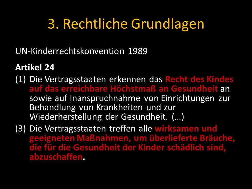 3. Rechtliche Grundlagen UN-Kinderrechtskonvention 1989 Artikel 24 (1)Die Vertragsstaaten erkennen das Recht des Kindes auf das erreichbare Höchstmaß
