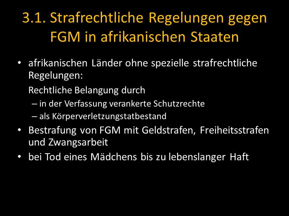 3.1. Strafrechtliche Regelungen gegen FGM in afrikanischen Staaten afrikanischen Länder ohne spezielle strafrechtliche Regelungen: Rechtliche Belangun