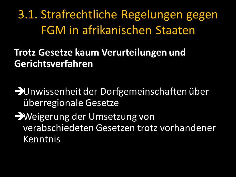 3.1. Strafrechtliche Regelungen gegen FGM in afrikanischen Staaten Trotz Gesetze kaum Verurteilungen und Gerichtsverfahren Unwissenheit der Dorfgemein