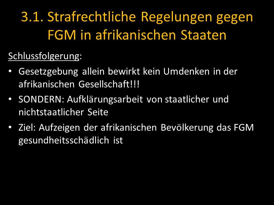3.1. Strafrechtliche Regelungen gegen FGM in afrikanischen Staaten Schlussfolgerung: Gesetzgebung allein bewirkt kein Umdenken in der afrikanischen Ge