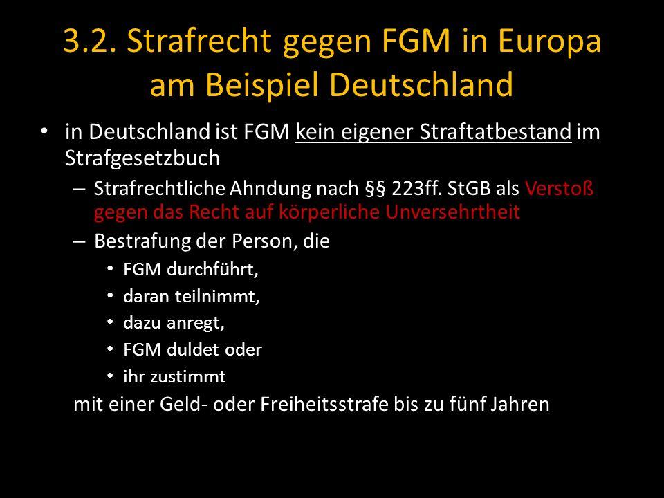 3.2. Strafrecht gegen FGM in Europa am Beispiel Deutschland in Deutschland ist FGM kein eigener Straftatbestand im Strafgesetzbuch – Strafrechtliche A