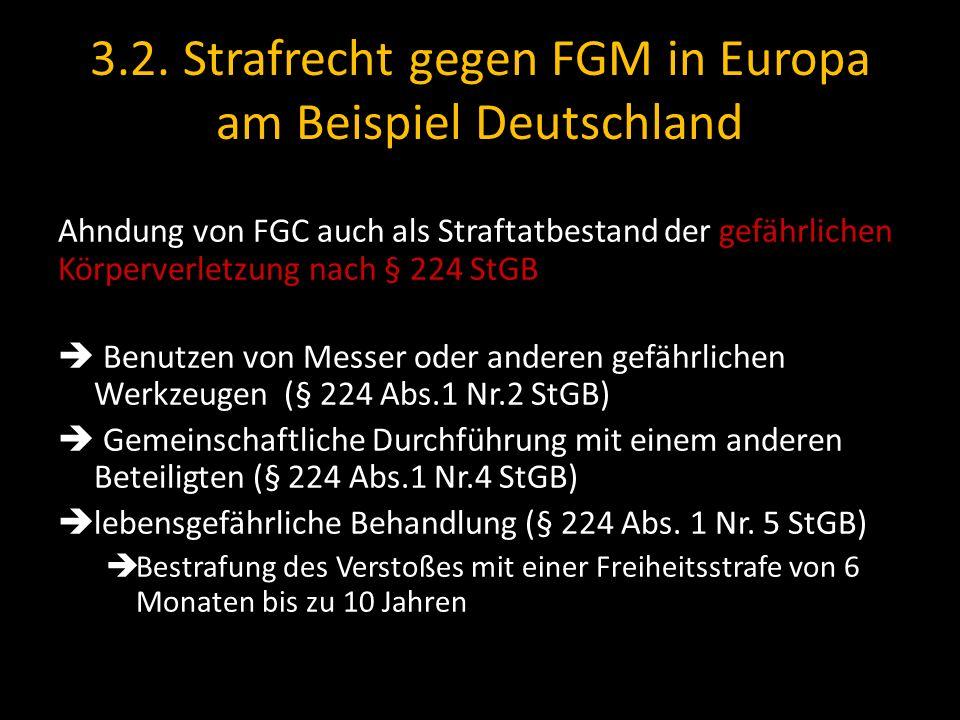 3.2. Strafrecht gegen FGM in Europa am Beispiel Deutschland Ahndung von FGC auch als Straftatbestand der gefährlichen Körperverletzung nach § 224 StGB