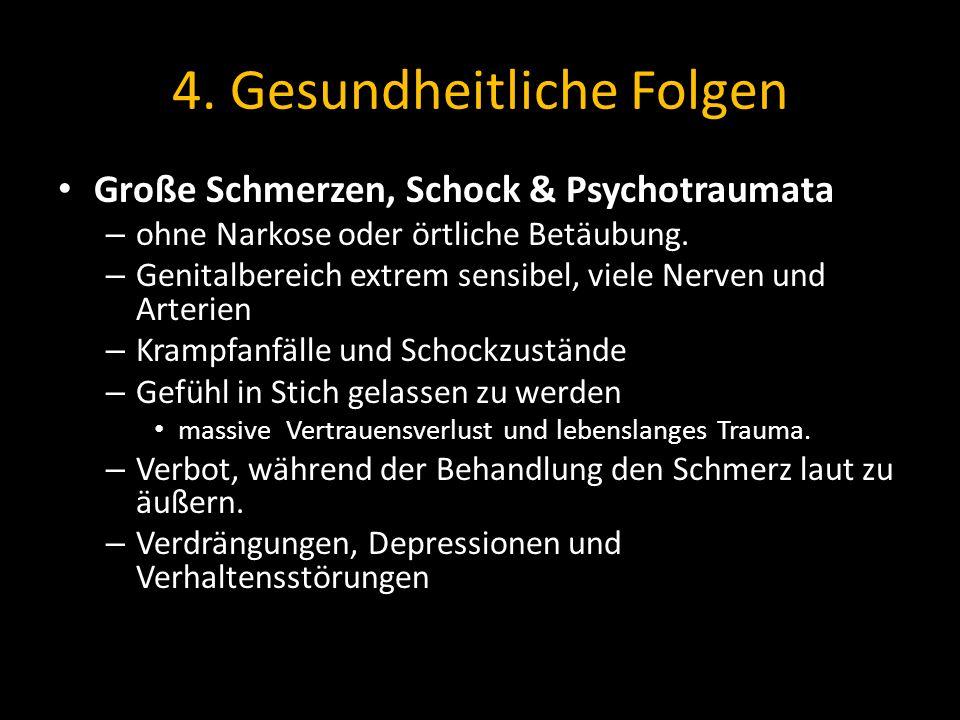 4. Gesundheitliche Folgen Große Schmerzen, Schock & Psychotraumata – ohne Narkose oder örtliche Betäubung. – Genitalbereich extrem sensibel, viele Ner