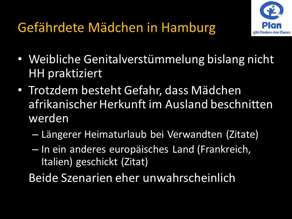 Gefährdete Mädchen in Hamburg Weibliche Genitalverstümmelung bislang nicht HH praktiziert Trotzdem besteht Gefahr, dass Mädchen afrikanischer Herkunft im Ausland beschnitten werden – Längerer Heimaturlaub bei Verwandten (Zitate) – In ein anderes europäisches Land (Frankreich, Italien) geschickt (Zitat) Beide Szenarien eher unwahrscheinlich