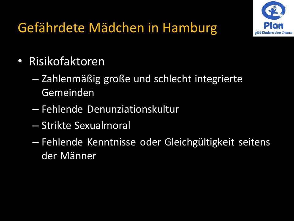 Gefährdete Mädchen in Hamburg Risikofaktoren – Zahlenmäßig große und schlecht integrierte Gemeinden – Fehlende Denunziationskultur – Strikte Sexualmoral – Fehlende Kenntnisse oder Gleichgültigkeit seitens der Männer