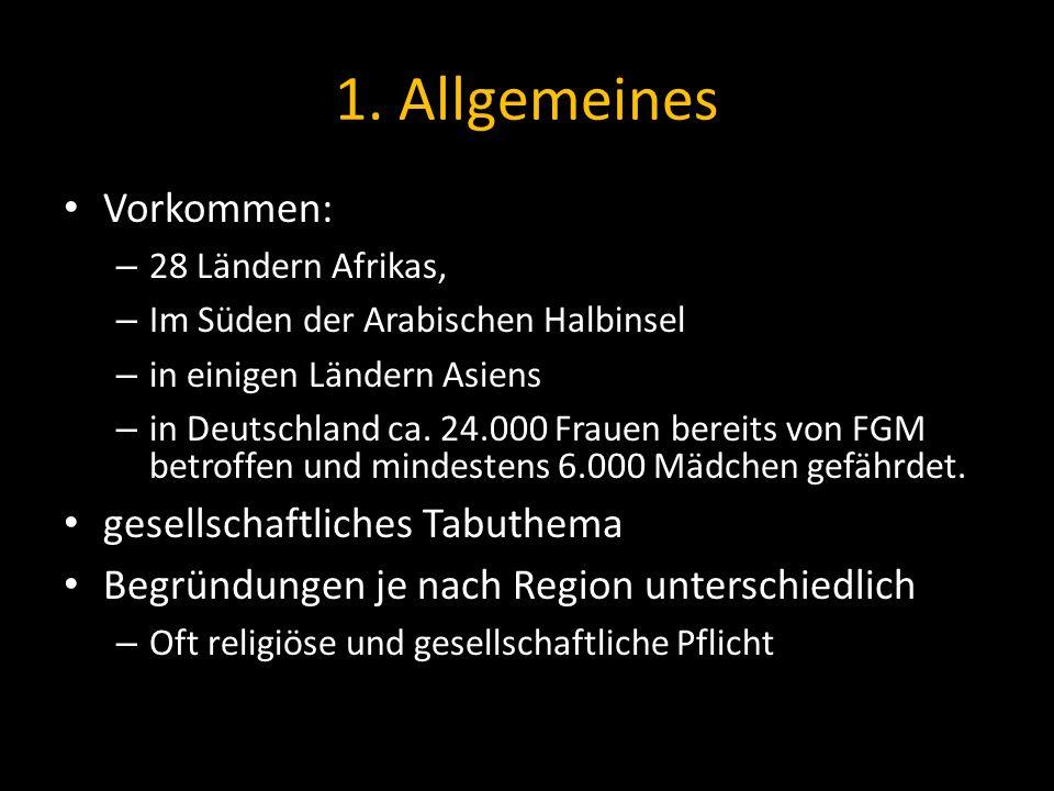 1. Allgemeines Vorkommen: – 28 Ländern Afrikas, – Im Süden der Arabischen Halbinsel – in einigen Ländern Asiens – in Deutschland ca. 24.000 Frauen ber