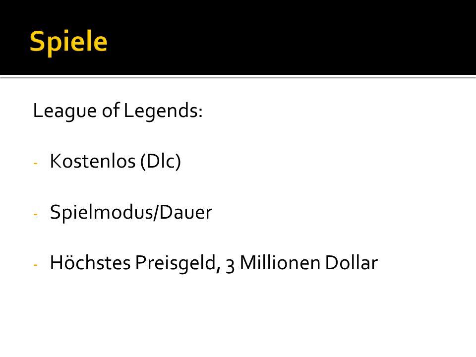 League of Legends: - Kostenlos (Dlc) - Spielmodus/Dauer - Höchstes Preisgeld, 3 Millionen Dollar