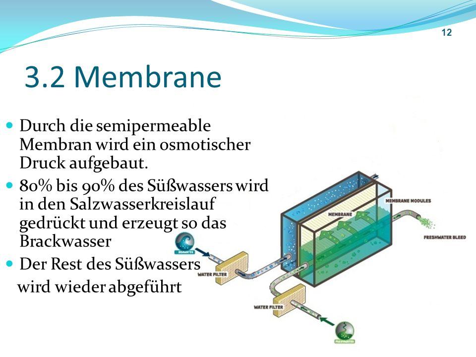 3.2 Membrane Durch die semipermeable Membran wird ein osmotischer Druck aufgebaut. 80% bis 90% des Süßwassers wird in den Salzwasserkreislauf gedrückt